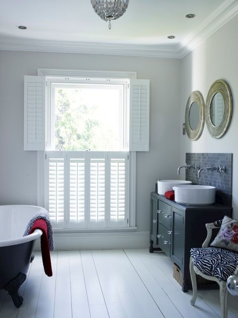 full height white bathroom shutters zoomed out
