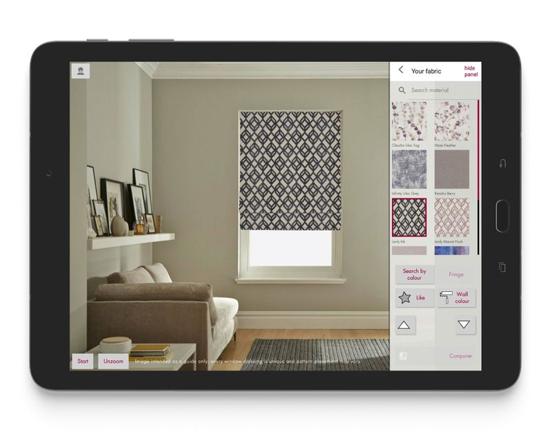 advisor visualisation app screen shot of roman blind view