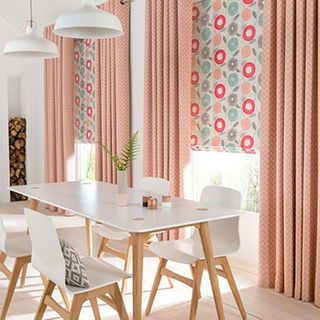 Curtains_Horizon Salmon and Freyja Coral Roman Blind_Dining Room