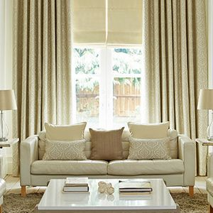 Curtains_Kashmir Cream and Tetbury Cream Roman Blind_Living Room