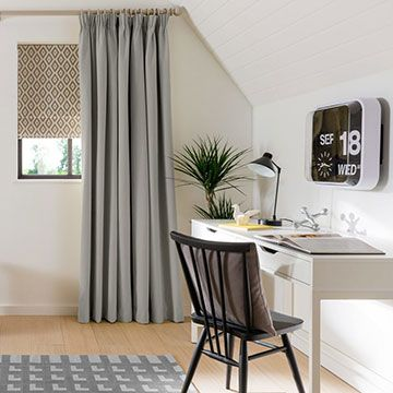 Grey Made to Measure Blackout Curtains with a Grey Roman Blind in the Study - Tetbury Smoke Curtains and a Laverne Glacier Roman Blind