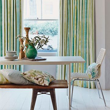 Striped Made to Measure Curtains in a Dining Room Window - Cascade Citrine Curtain