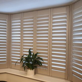 Closed shutters in a bay window with plant