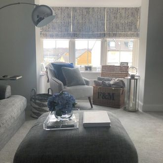 Roman blinds in cosy living room