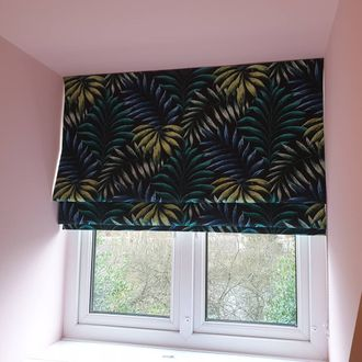 Mirissa Blackout roman blind with pink walls and ceiling