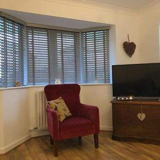 Grey wooden blinds with dark pink/red velvet armchair and wooden box with TV on
