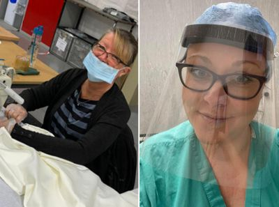 hillarys colleague sewing scrubs, nhs worker in homemade visor