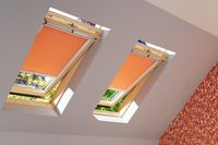 an image showing how two skylight blinds in a bright orange fit perfectly to skylight windows