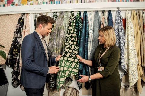 George Clarke and Yvonne Keal looking at Hillarys fabrics