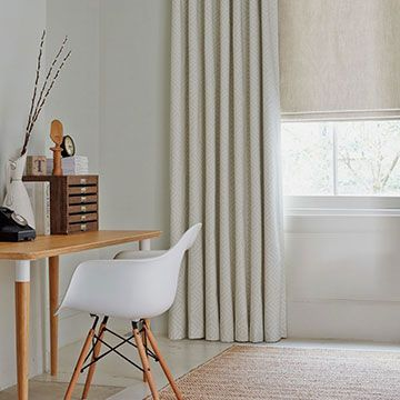 Rattan Stone Curtains with Mineral Chalk Roman blind in a Study