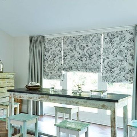 Dining Room with Roman Blind in Portia Stone and Opulence Dove Grey Curtains