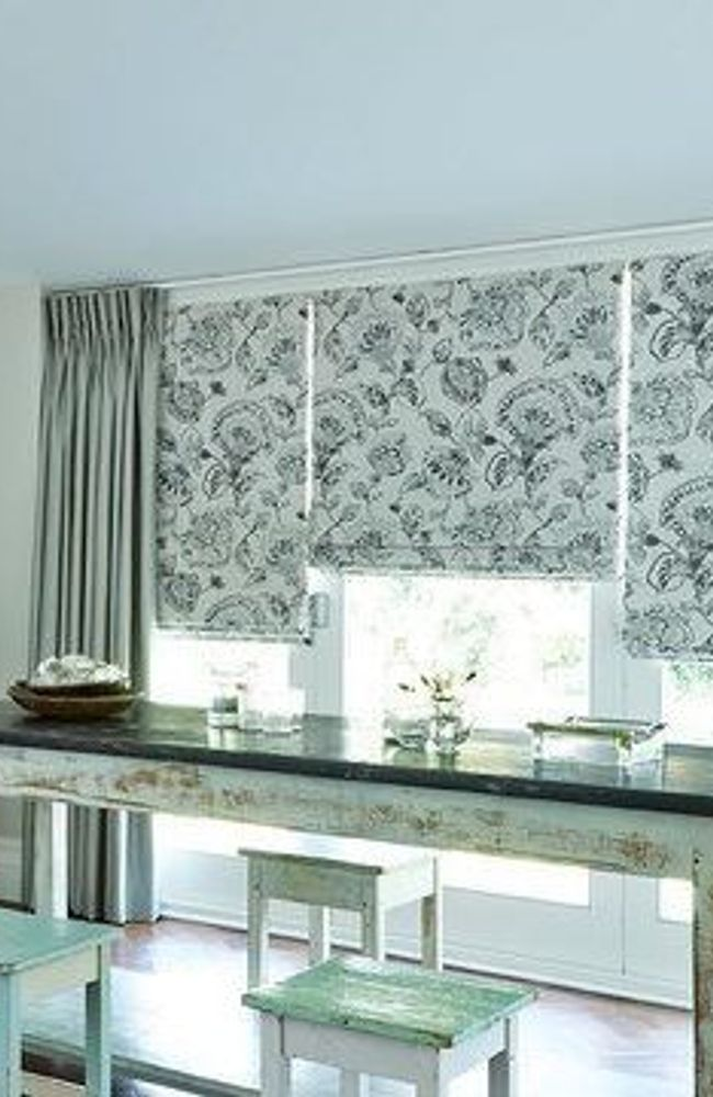 Roman Blind_Portia Stone and Opulence Dove Grey Curtains_Dining Room.jpg