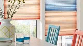 Pleated Blind_Serita Coral and Serita Denim_Dining Room