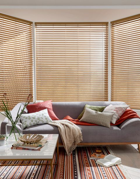 Brown blinds in a light living room with grey sofa and house plants