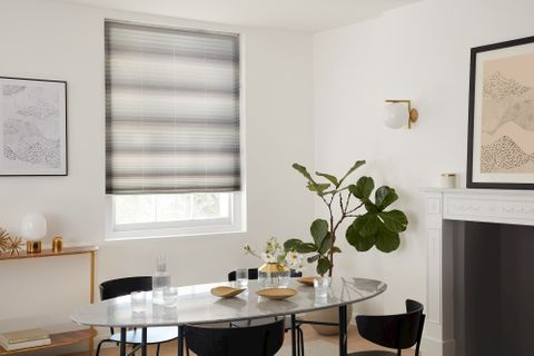 HousBeautiful Harmony Grey pleated blind in bright dining room