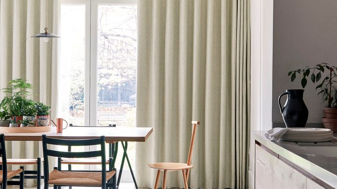 Light green Echo mist wave curtains against patio kitchen diner doors