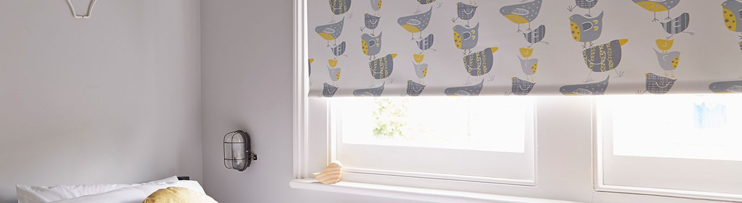 Grey-Patterned-Roller-blind-Bedroom-Dickie-Birds
