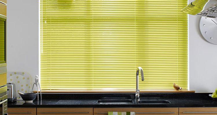 green venetian blinds made to measure green metal. Black Bedroom Furniture Sets. Home Design Ideas