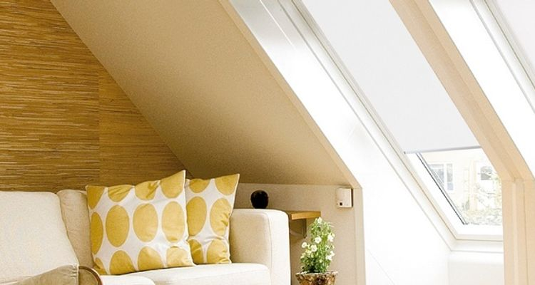 white-velux-blind-living-room