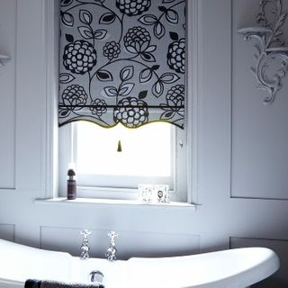 Floral Monochrome Bathroom Roller Blind_Serena