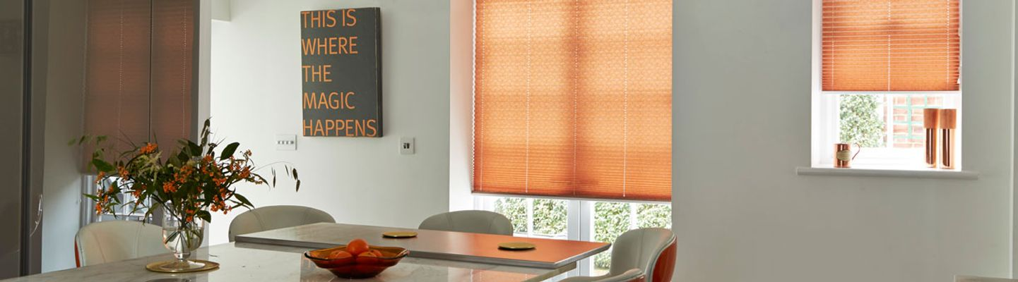 orange pleated blind-dining room-crush nectarine