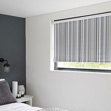 Silver Striped Bedroom Roller Blind_Lester. Roller Blind