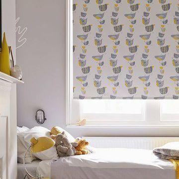 Bird Patterned Roller Blind In Childrens Bedroom Dickie Birds Grey