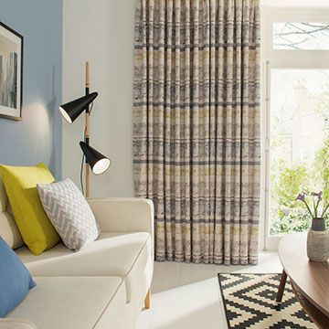 Grey Patterned Made to Measure Curtains in the Living Room - Natur Fjord Mineral Curtains