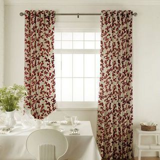 Aurella Claret Curtains in dining room with white furniture