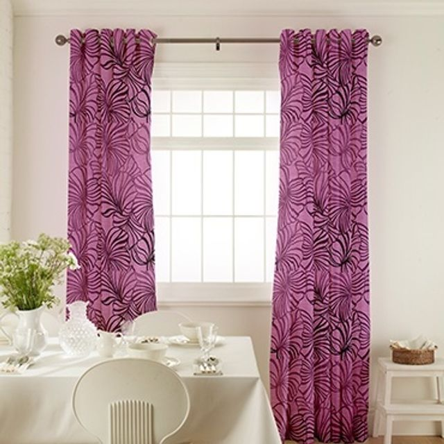 Broadleigh Aubergine Curtains in dining room with white furniture