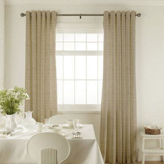 Clarence Dove Grey Curtains in dining room with white furniture