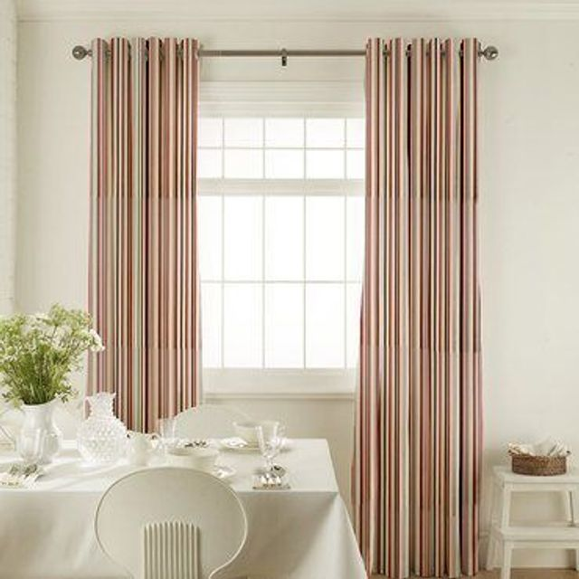 City Cherry Curtains in dining room with white furniture