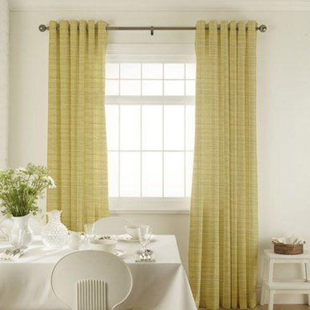 Clarence Chartreuse Curtains in dining room with white furniture