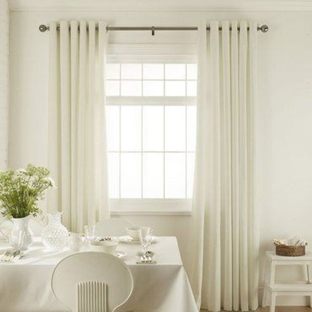 Clarence Off White Curtains in dining room with white furniture