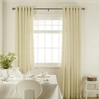 Clarence Natural Curtains in dining room with white furniture
