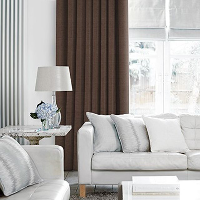Lyon Chocolate Curtains in living room with light grey sofa