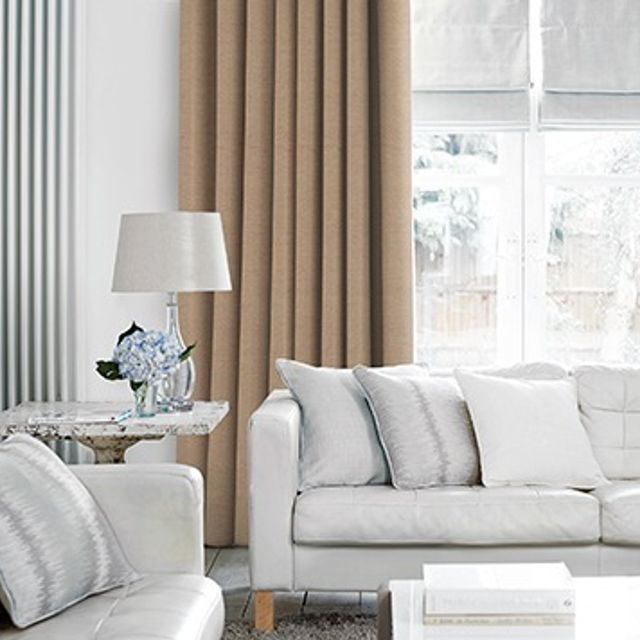 Lyon Light Natural Curtains in living room with light grey sofa