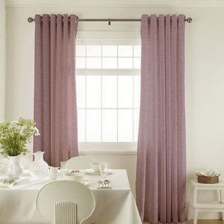 Roche Blush Curtains in dining room with white furniture