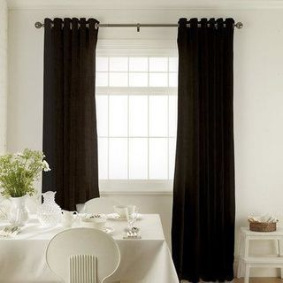 Tetbury Black Curtains in dining room with white furniture