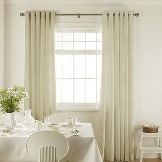 Tetbury Ivory Curtains in dining room with white furniture