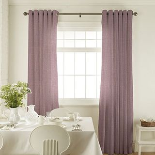 Tetbury Mauve Curtains in dining room with white furniture