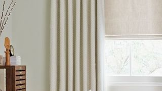 Mineral Chalk Roman blind and Rattan Stone Curtains