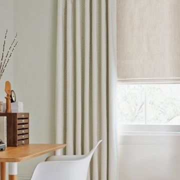 Roman Blind_Mineral Chalk_with_Rattan Stone_Curtains_Study