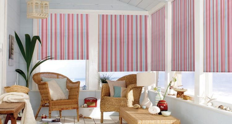 Pink striped roller blind-Conservatory-Circus hot pink