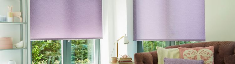 Purple roller blind-living room-Ravenna amethyst