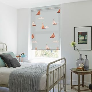 Roller Blind_Boats Teal_Roomset