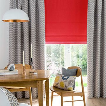 Roman Blind_Tetbury Coral_with_Horizon Denim_Curtain_Dining Room
