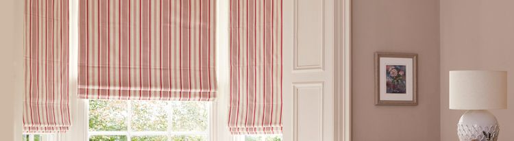 Pink stripy roman blind-living room-Hatti raspberry
