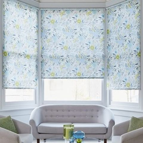 Light Living Room with Floral Betsy Blue Roller Blinds