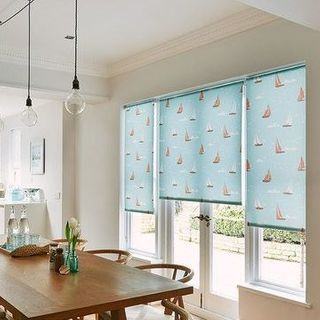 blue dining room roller blind Boats Teal